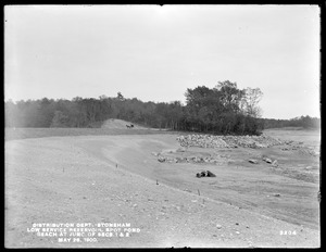 Distribution Department, Low Service Spot Pond Reservoir, beach at junction of Sections 1 and 2, Stoneham, Mass., May 28, 1900