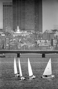 Sailboats on Charles River Basin, Beacon Hill in background, downtown Boston