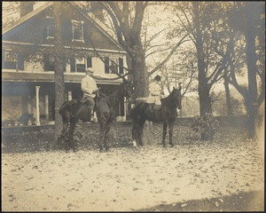 Gertrude and G. Otto Kunhardt on horseback in front of house, Ashdale Farm.