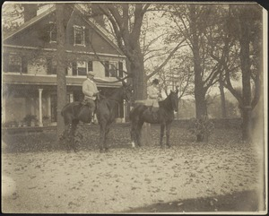 Gertrude and G. Otto Kunhardt on horses in front of main house at Ashdale Farm