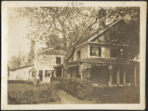 Ashdale Farm. Front of house with woman in yard, possibly Gertrude Kunhardt