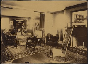 Ashdale Farm. Drawing Room/Sitting Room — Helen Mead Granger Stevens (Mrs. Henry J. Stevens), sleeping in chair