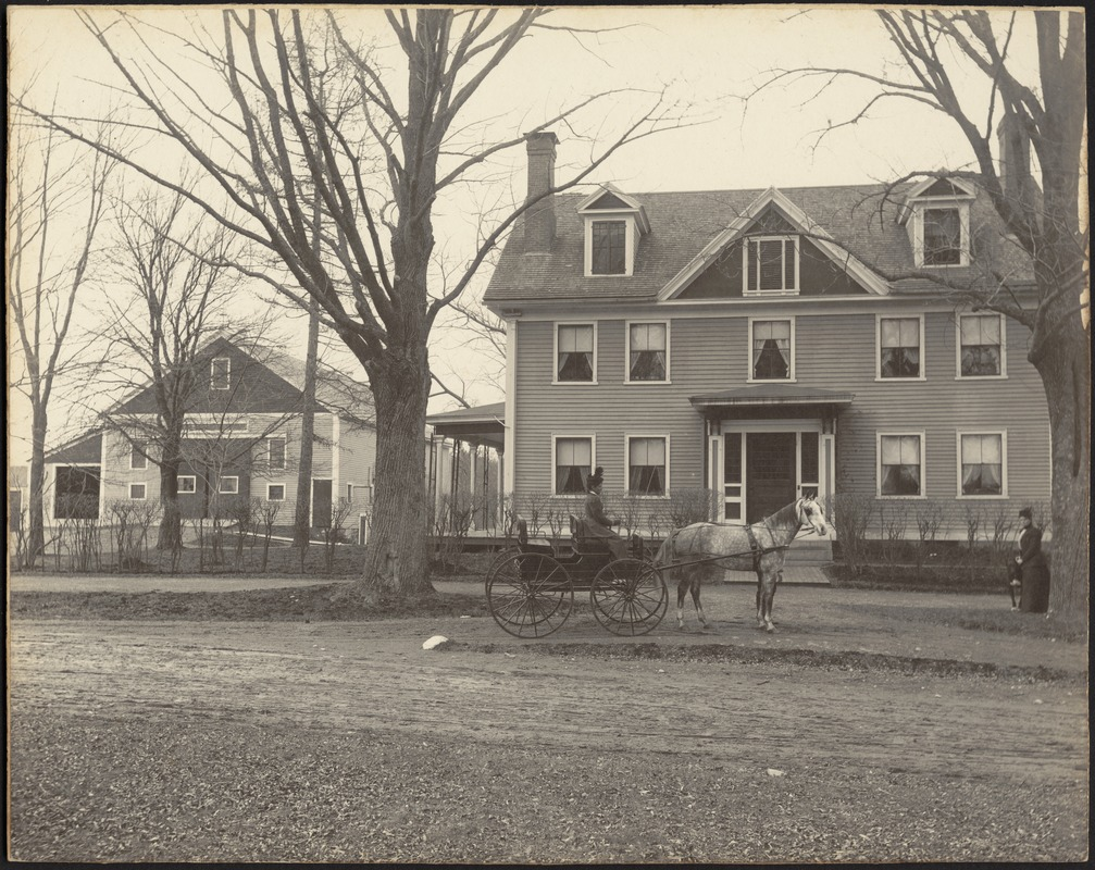 Ashdale Farm. Copy of early photo of Gertrude Stevens in horse and buggy in front of main house; barn on left; woman standing near tree on far right.