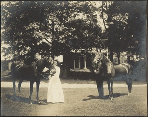 Ashdale Farm. Gertrude S. Kunhardt standing next to horse in front of main house; unidentified man holding horse on right