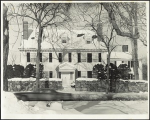Ashdale Farm. View of front of Main House in winter, sedan passing by