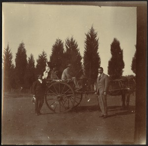 Vice Consul John Gardner Coolidge, unidentified man in horse and buggy, U. S. Consul Adelbert S. Hay (L to R)