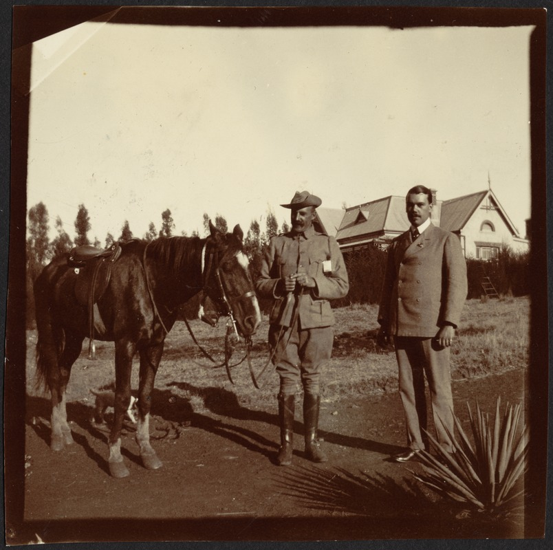 Officer with horse and Adelbert S. Hay