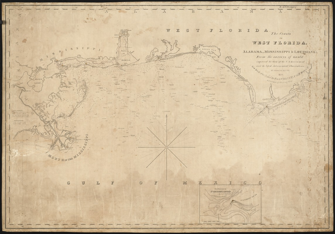 The coasts of West Florida, Alabama, Mississippi & Louisiana; from the surveys of Gauld improved by those of the U.S. Government and the latest Astronomical Observations