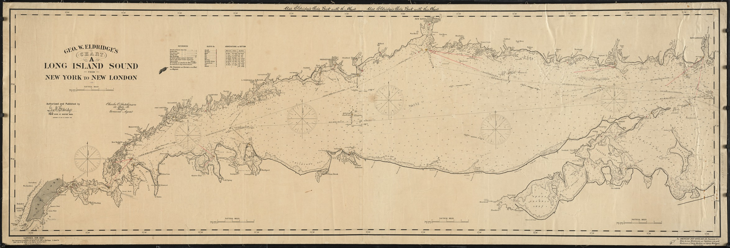Geo. W. Eldridge's chart A, Long Island Sound from New York to New London