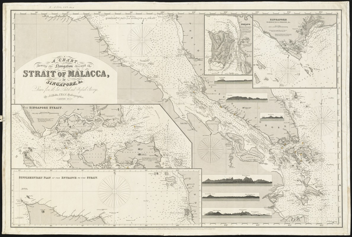 A chart showing the navigation through the Strait of Malacca, to Singapore, &c