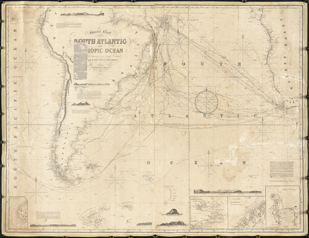 General chart of the South Atlantic or [illegible]iopic Ocean [illegible] the Equator to 65° south latitude [illegible]ng to the latest surveys & observations
