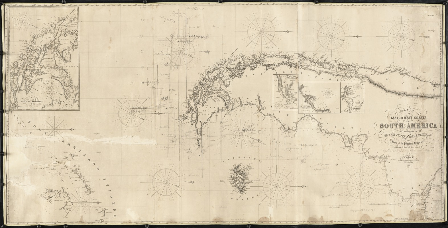 Chart of the East and West coasts of South America, extending from the River Plate round Cape Horn to Valparaiso, with plans fo the principal harbours