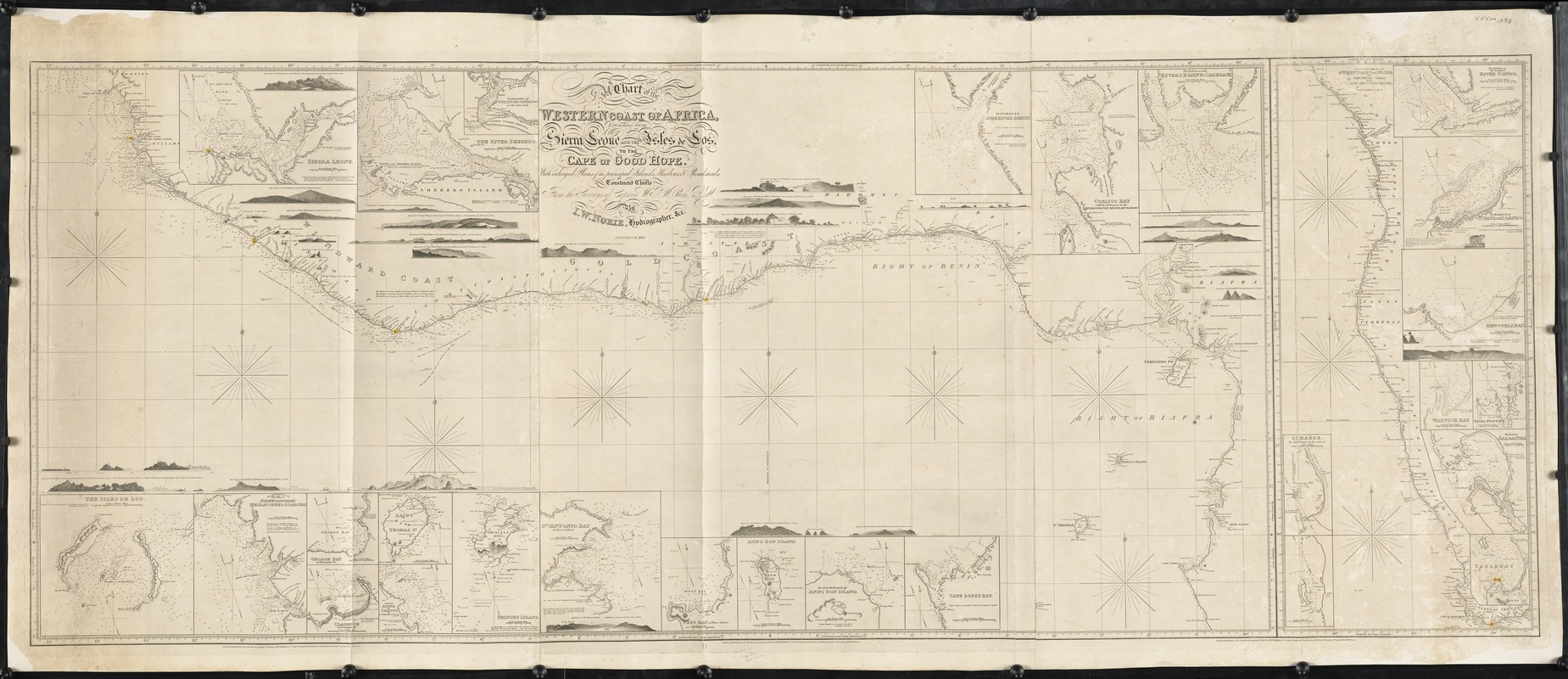 A chart of the western coast of Africa, extending from Sierra Leone and the Isles de Los, to the Cape of Good Hope. With enlarged plans of the principal islands, harbors & roadsteads