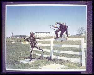 CEMEL, body armor, vest & helmet, infantry, new - obstacle course, guys jumping over fence
