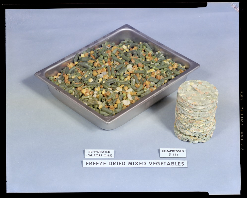 Food lab, freeze dried mixed vegetables, rehydrated, 34