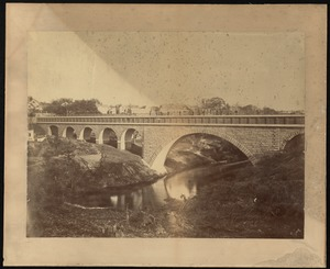 Sudbury Department, Sudbury Aqueduct, Echo Bridge, from Needham toward Newton, downstream face, Needham; Newton, Mass., ca. 1878