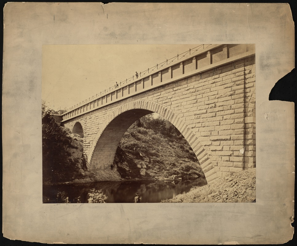 Sudbury Department, Sudbury Aqueduct, Echo Bridge, from Newton toward Needham, upstream face, Needham; Newton, Mass., ca. 1878