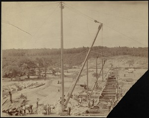 Sudbury Department, Hopkinton Dam, construction from south end looking north, Ashland, Mass., 1890