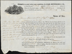 Bill of lading, Gage, Hittinger & Co. for items shipped on Timoleon, Boston to New Orleans