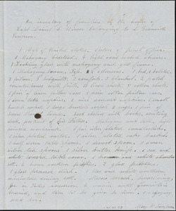 Inventory of house of Daniel L. Winsor