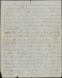 Fund raising letter for August Fair, 30 May 1857