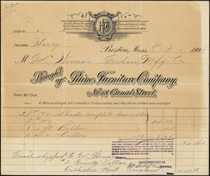 "Two invoices to Mr. G L Winsor from Paine Furniture Company, Boston, MA. Second invoice is stamped ""PAID"""