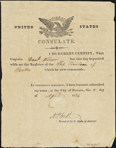 """Certified receipt for register of """"Timoleon"""" issued by U.S. Consul to Capt. Daniel L. Winsor"""