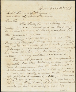 Letter from Thatcher Magowan, Esq. to Capt. D.L. Winsor regarding obtaining best possible freight to U.S. ports (Boston, New York, or New Orleans) and compensation for Capt. ($30.00/month plus 7% of any profit)