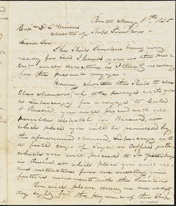 Letter from Magowan to Winsor concerning voyage to Havana and Russia under charter to Eben Manson. Winsor's compensation to be $100/month