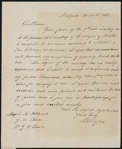 Letter to D.K. Hitchock, G.W. Bacon and Wm. G.W. Lewis, April 11, 1865