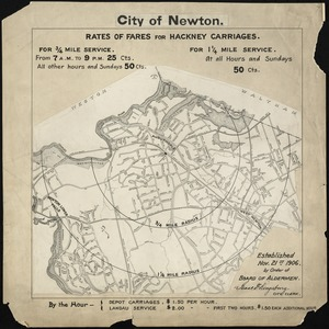 City of Newton (Auburndale). Rates of fares for hackney carriages established Nov. 21, 1906 by order of Board of Aldermen