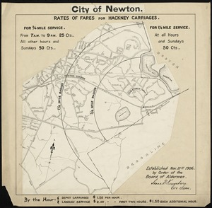 City of Newton (Chestnut Hill). Rates of fares for hackney carriages established Nov. 21, 1906 by order of Board of Aldermen