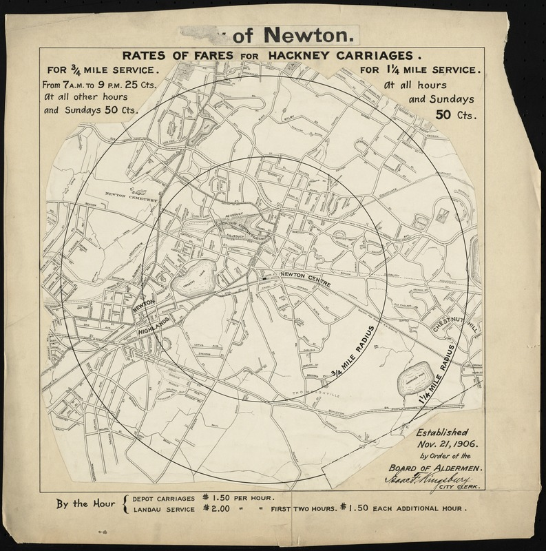 City of Newton (Newton Centre). Rates of fares for hackney carriages established Nov. 21, 1906 by order of Board of Aldermen
