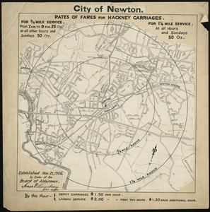 City of Newton (Newton Highlands). Rates of fares for hackney carriages established Nov. 21, 1906 by order of Board of Aldermen