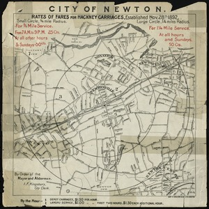 City of Newton (Newtonville). Rates of fares for hackney carriages established Nov. 28th, 1892
