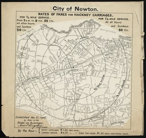 City of Newton (Newtonville). Rates of fares for hackney carriages established Nov. 21, 1906 by order of Board of Aldermen