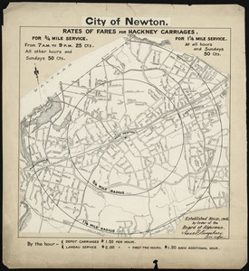 City of Newton (West Newton). Rates of fares for hackney carriages established Nov. 21, 1906 by order of Board of Aldermen