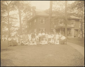 Miss Kate Carroll, teachers and school girls on lawn of 147 Prince Street school