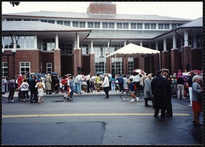 Newton Free Library Grand Opening Celebration, September 15, 1991. Audience outside of Newton Free Library
