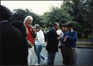 Newton Free Library Grand Opening Celebration, September 15, 1991. Audience outside of Newton Free Library. Mayor Theodore Mann