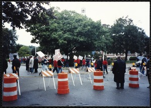 Newton Free Library Grand Opening Celebration, September 15, 1991. Picketers outside of Newton Free Library
