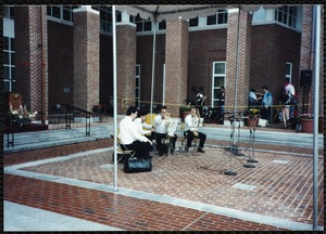 Newton Free Library Grand Opening Celebration, September 15, 1991. Newton Symphony Orchestra brass quartet setting up