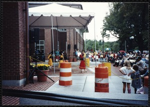 Newton Free Library Grand Opening Celebration, September 15, 1991. Chinese dancers. Audience