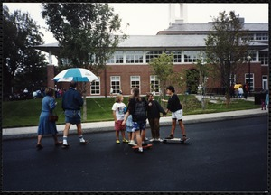 Newton Free Library Grand Opening Celebration, September 15, 1991. Children outside Newton Free Library