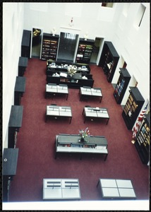 Newton Free Library Grand Opening Celebration, September 15, 1991. Interior. Atrium from above