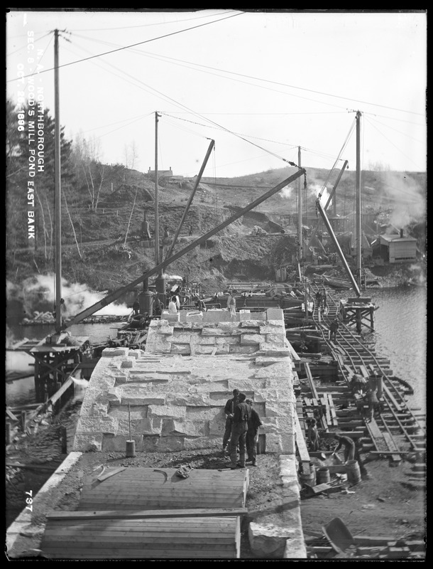 Wachusett Aqueduct, Assabet Bridge, Section 8, east bank of Wood's Mill Pond, from the west, Northborough, Mass., Oct. 26, 1896