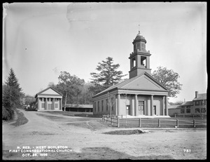 Wachusett Reservoir, First Congregational Church, corner of Howe and East Main Streets, from the west side of East Main Street, West Boylston, Mass., Oct. 28, 1896