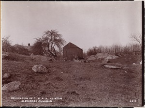 Relocation Central Massachusetts Railroad, Alexander Ohnsman's house and barn, looking westerly, Clinton, Mass., Apr. 28, 1902