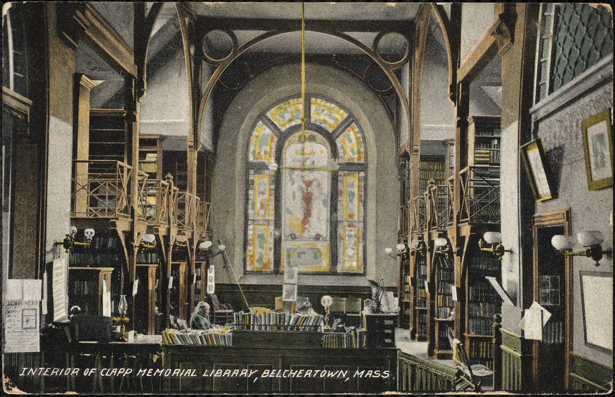 Interior of Clapp Memorial Library, Belchertown, Mass.