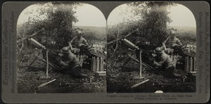 Captured German machine guns on road from Villers-Cotterets to Soissons